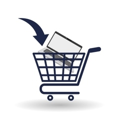 Shopping cart icon over white background vector