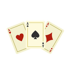 Aces playing cards icon flat style vector