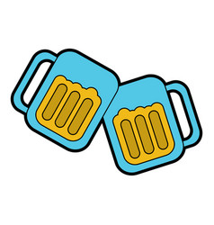 beer in glasses toast icon image vector image