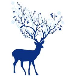 Blue Christmas deer vector image