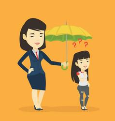 Businesswoman holding umbrella over woman vector