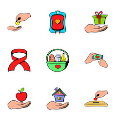 charity icons set cartoon style vector image vector image