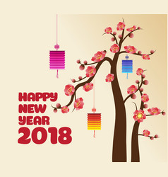 Chinese new years lantern decoration for blossom vector