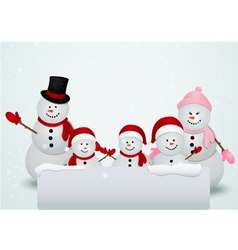 Christmas card with snowman and family vector image vector image