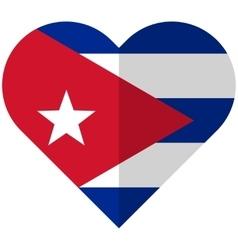 Cuba flat heart flag vector