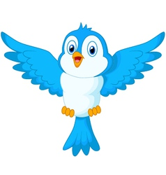 Cute cartoon blue bird flying vector