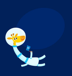 cute little giraffe animal astronaut spaceman vector image vector image