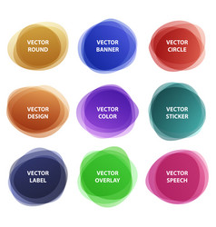 different colorful round overlay sticker set vector image vector image