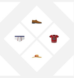Flat icon garment set of elegant headgear male vector