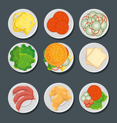 Food in plates set vector