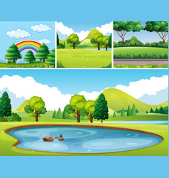 four scenes of park at day time vector image