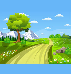 Green landscape with trees clouds flowers vector