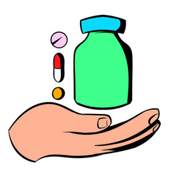 Hand with vitamins and medication icon vector