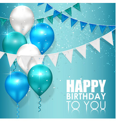 Happy birthday colors on blue water background vector
