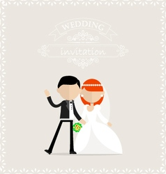 Happy groom and bride waiving vector