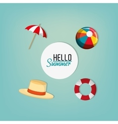 Hello summer sign vacation travel icons image vector