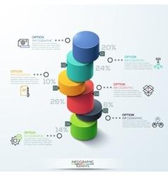 Infographic template modern cylinder bar chart vector