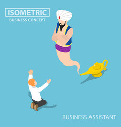 Isometric businessman and genie giant in the vector