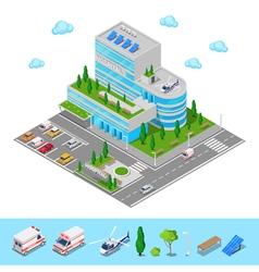 Isometric hospital medical center modern building vector