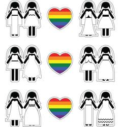 Lesbian brides icon set with rainbow element vector