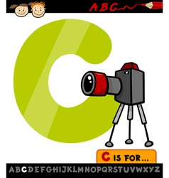 letter c with camera cartoon vector image