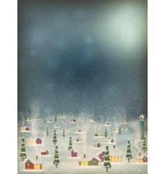 Merry Christmas retro postcard village EPS 10 vector image vector image