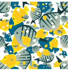 pattern with cute big fish in white color vector image