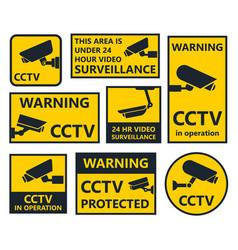 security camera signs cctv stickers vector image