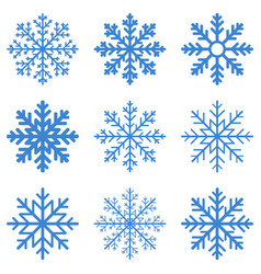 set blue winter snowflake vector image