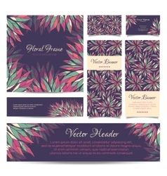 Set of banners business card frame and vector