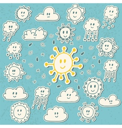 Set of cute hand drawn weather icons vector image