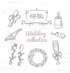 Set of hand drawn wedding table decoration vector