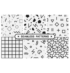 Set of memphis seamless patterns black and white vector