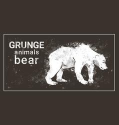 Silhouette bear in grunge design style grizzly vector