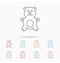 Teddy-bear icon Baby toy sign vector image vector image