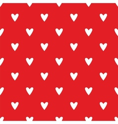 Tile cute pattern white hearts on red background vector image vector image