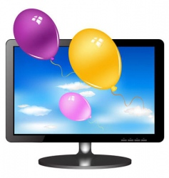 tv monitor with balloons vector image vector image