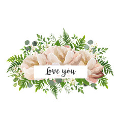 V card floral flower bouquet design with peach vector