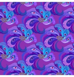 Violet purple peacock feathers seamles pattern vector image