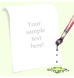 White sheet of paper with paint brush vector image vector image