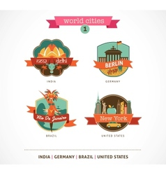 World Cities labels - Delhi Berlin Rio New York vector image vector image