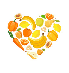 yellow and orange fruits and vegetables vector image vector image