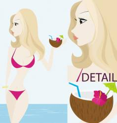 pink bikini vector image