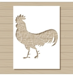 Stencil template of cock on wooden background vector