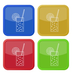 Four square color icons carbonated drink citrus vector