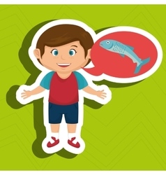boy cartoon food fish fresh vector image