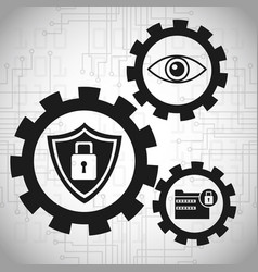 Security data system gears concept vector