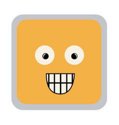 Square colorful shape emoticon surprised vector