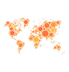 World map mosaic of orange dots in various vector