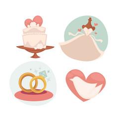 Wedding with marriage symbols vector